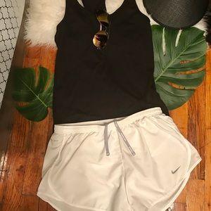 Nike Dri-fit white running shorts w bonus tank top